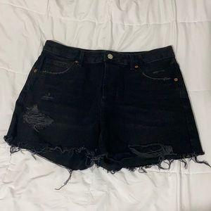 topshop black moto ripped ashley shorts